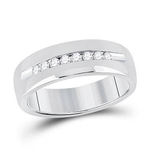 14kt White Gold Mens Round Diamond Wedding Single Row Band Ring 1/4 Cttw