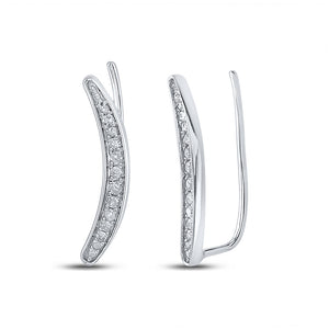 QueensDiamond Sterling Silver Womens Round Diamond Climber Earrings 1/5 Cttw - Queens Diamond & Jewelry