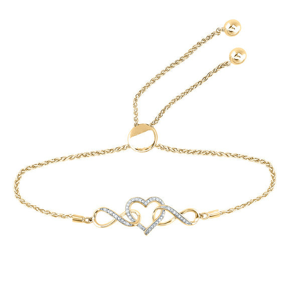 Yellow-tone Sterling Silver Womens Round Diamond Heart Bolo Bracelet 1/6 Cttw