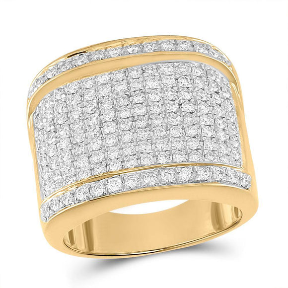 10kt Yellow Gold Mens Round Diamond Fashion Ring 2 Cttw