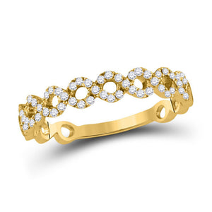 10kt Yellow Gold Womens Round Diamond Geometric Stackable Band Ring 1/5 Cttw