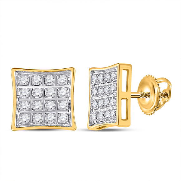 10kt Yellow Gold Womens Round Diamond Square Earrings 1/10 Cttw