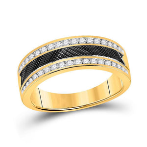 14kt Yellow Gold Mens Round Diamond Wedding Double Row Band Ring 1/2 Cttw
