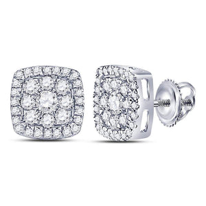 14kt White Gold Womens Round Diamond Square Cluster Earrings 1 Cttw