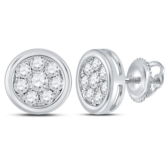 14kt White Gold Womens Round Diamond Circle Cluster Stud Earrings 1/2 Cttw