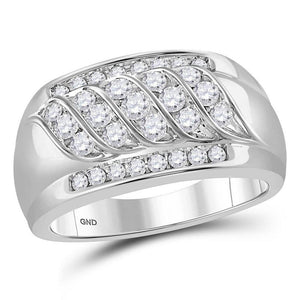 14kt White Gold Mens Round Diamond Wedding Band Ring 1 Cttw