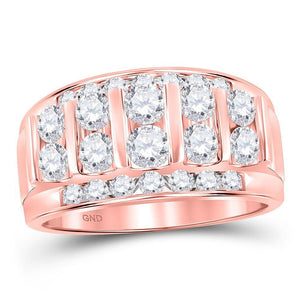 14kt Rose Gold Mens Round Diamond Wedding Channel Set Band Ring 2 Cttw