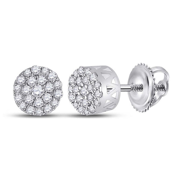 14kt White Gold Womens Round Diamond Cluster Earrings 1/4 Cttw