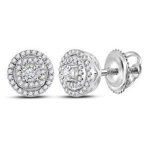 14kt White Gold Womens Round Diamond Halo Earrings 1/4 Cttw