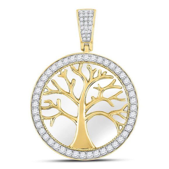 10kt Yellow Gold Mens Round Diamond Tree of Life Circle Charm Pendant 3/4 Cttw