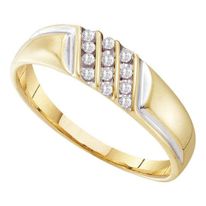 10kt Yellow Gold Mens Round Diamond Wedding Triple Row Band Ring 1/8 Cttw Size 12