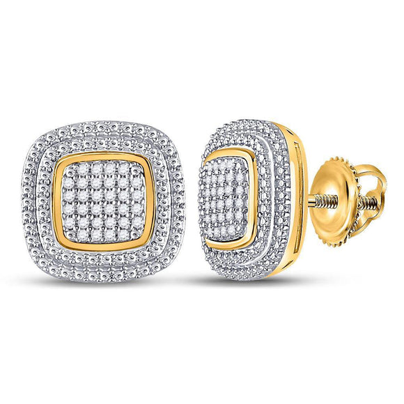 10kt Yellow Gold Womens Round Diamond Square Cluster Earrings 1/6 Cttw