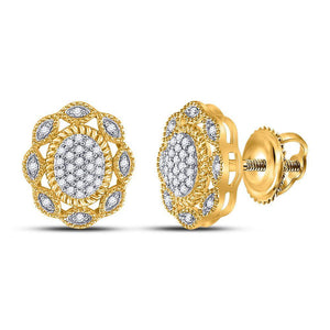 QueensDiamond 10kt Yellow Gold Womens Round Diamond Oval Earrings 1/6 Cttw - Queens Diamond & Jewelry