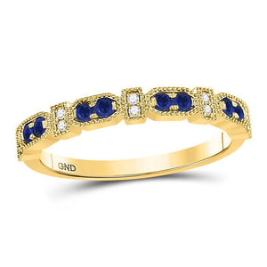10kt Yellow Gold Womens Round Blue Sapphire Diamond Stackable Band Ring 1/4 Cttw
