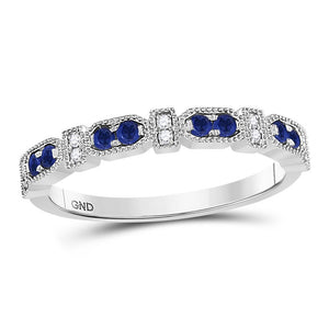 10kt White Gold Womens Round Blue Sapphire Diamond Stackable Band Ring 1/4 Cttw