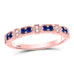 10kt Rose Gold Womens Round Blue Sapphire Diamond Stackable Band Ring 1/4 Cttw