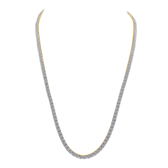 10kt Yellow Gold Mens Round Diamond Fashion Chain Necklace 12 Cttw