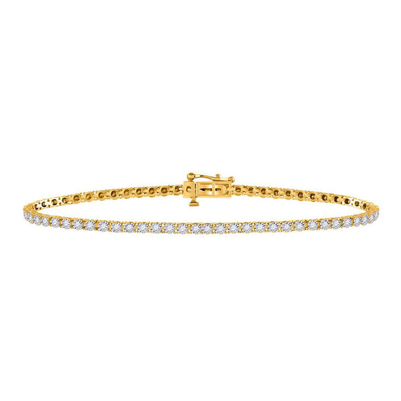 14kt Yellow Gold Womens Round Diamond Tennis Bracelet 1 Cttw