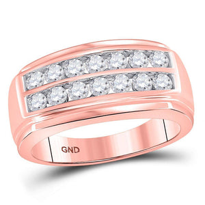 14kt Rose Gold Mens Round Diamond Wedding Double Row Band Ring 1 Cttw