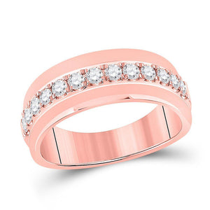 14kt Rose Gold Mens Round Diamond Wedding Single Row Band Ring 3/4 Cttw