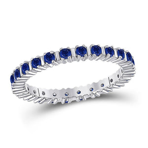 10kt White Gold Womens Round Blue Sapphire Stackable Band Ring 1 Cttw