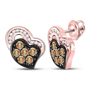 10kt Rose Gold Womens Round Brown Diamond Heart Stud Earrings 3/8 Cttw