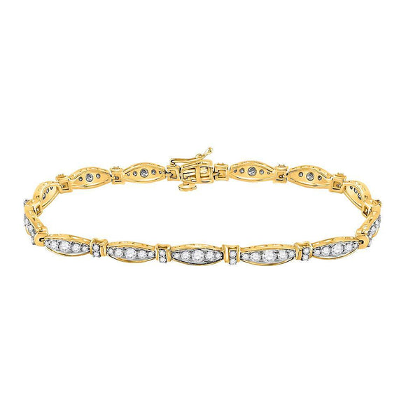 10kt Yellow Gold Womens Round Diamond Link Fashion Bracelet 2 Cttw