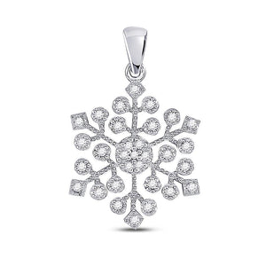 Queens Diamond 10kt White Gold Womens Round Diamond Snowflake Fashion Pendant 1/6 Cttw
