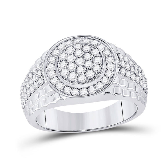 10kt White Gold Mens Round Diamond Fashion Cluster Ring 1-3/8 Cttw