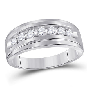 14kt White Gold Mens Round Diamond Wedding Single Row Band Ring 1/2 Cttw