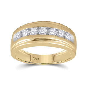 14kt Yellow Gold Mens Round Diamond Wedding Band Ring 7/8 Cttw