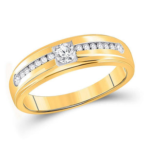 10kt Yellow Gold Mens Round Diamond Solitaire Wedding Ring 1/2 Cttw