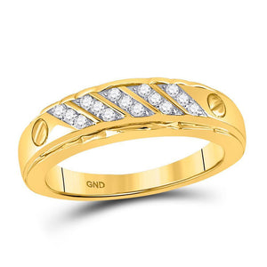 10kt Yellow Gold Mens Round Diamond Wedding Band Ring 1/5 Cttw