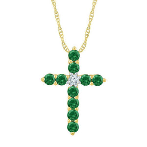 10kt Yellow Gold Womens Round Lab-Created Emerald Cross Pendant 5/8 Cttw