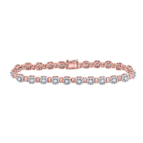 14kt Rose Gold Womens Round Diamond Link Bracelet 2-1/5 Cttw