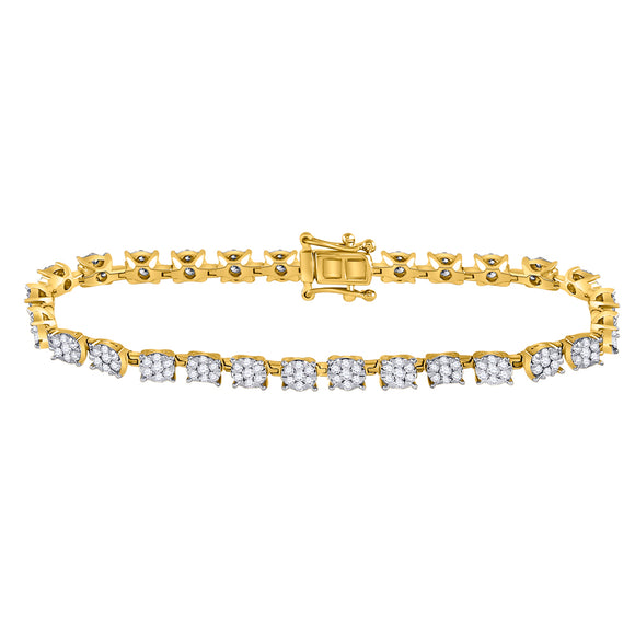 14kt Yellow Gold Womens Round Diamond Fashion Cluster Tennis Bracelet 3 Cttw
