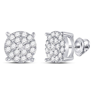 10kt White Gold Womens Round Diamond Circle Cluster Earrings 1 Cttw