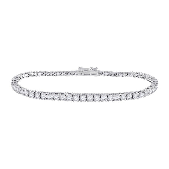 14kt White Gold Womens Round Diamond Tennis Bracelet 3 Cttw
