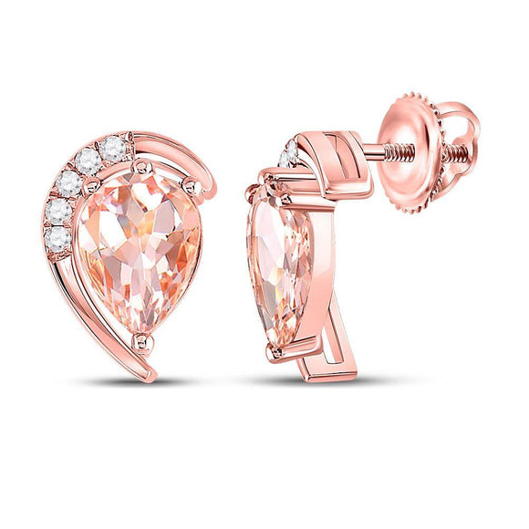 10kt Rose Gold Womens Pear Morganite Diamond Stud Earrings 1-7/8 Cttw