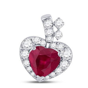 10kt White Gold Womens Heart Ruby Diamond Fashion Pendant 5/8 Cttw