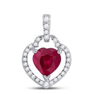 10kt White Gold Womens Heart Ruby Diamond Fashion Pendant 7/8 Cttw