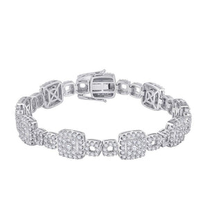 14kt White Gold Womens Round Diamond Square Link Bracelet 5-3/4 Cttw