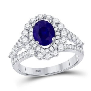 14kt White Gold Womens Oval Blue Sapphire Solitaire Diamond Ring 2-1/3 Cttw