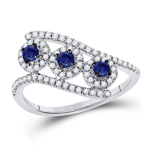 14kt White Gold Womens Round Blue Sapphire Fashion 3-stone Ring 5/8 Cttw