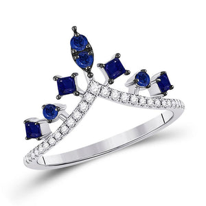 14kt White Gold Womens Round Lab-Created Blue Sapphire Chevron Fashion Ring 1 Cttw