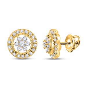 QueensDiamond 14kt Yellow Gold Womens Round Diamond Circle Cluster Earrings 3/8 Cttw - Queens Diamond & Jewelry