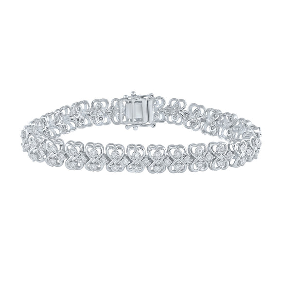 Sterling Silver Womens Round Diamond Heart Bracelet 1 Cttw