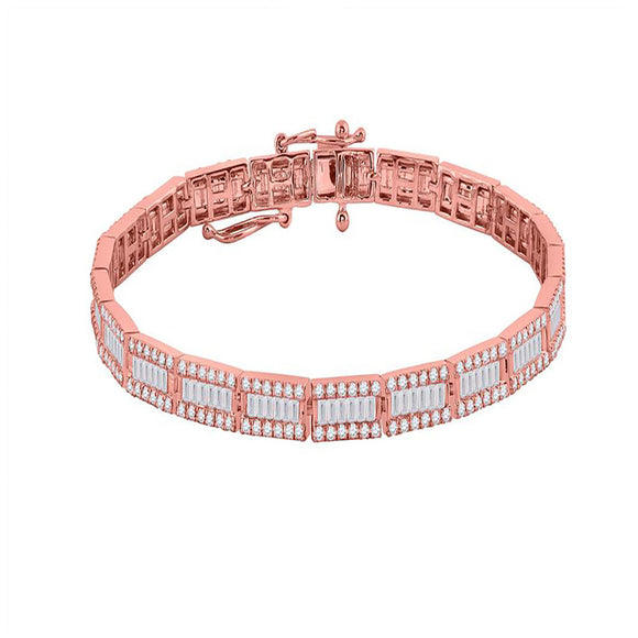 14kt Rose Gold Womens Baguette Diamond Link Bracelet 3-1/2 Cttw