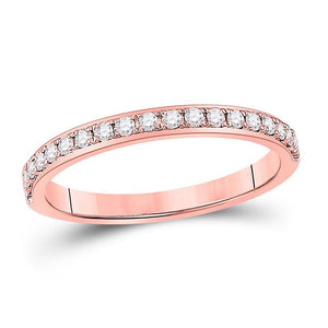 14kt Rose Gold Womens Round Diamond Wedding Single Row Band 1/6 Cttw