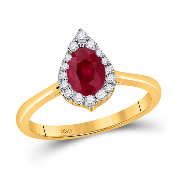 14kt Yellow Gold Womens Pear Ruby Diamond Halo Fashion Ring 1 Cttw